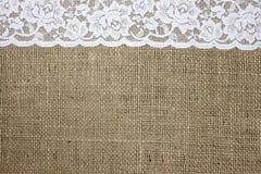 Textura de la arpillera y del cordón Fotografía de archivo libre de regalías