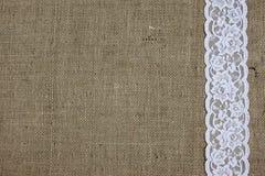 Textura de la arpillera y del cordón Imagen de archivo libre de regalías