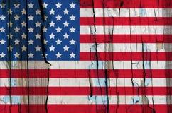 Textura de la bandera de los E.E.U.U. en la madera del grunge Imágenes de archivo libres de regalías
