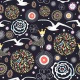 Textura de la flor con las gaviotas Fotos de archivo libres de regalías
