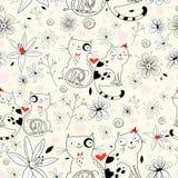 Textura de la flor con los gatos Fotografía de archivo