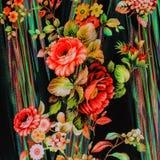 Textura de la flor rayada de la tela de la impresión Fotos de archivo