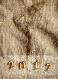 Textura de la harpillera - la Navidad, Año Nuevo 2017 Imágenes de archivo libres de regalías
