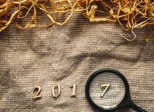 Textura de la harpillera - la Navidad, Año Nuevo 2017 Fotos de archivo libres de regalías