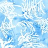 Textura de la helada de la acuarela con el tracery congelado dibujado mano Fondo azul del invierno ilustración del vector