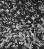 Textura de la impresión de la lona de las manos de la gente Fotos de archivo libres de regalías