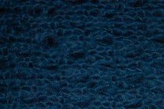 Textura de la manta de punto grande azul fotografía de archivo libre de regalías