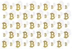 Textura de la moneda crypto de la muestra del bitcoin en la mano en fondo del oro Símbolo BTC Imagen de archivo