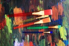 Textura de la paleta de colores con los cepillos Imagen de archivo