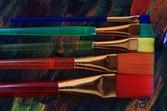 Textura de la paleta de colores con los cepillos Fotografía de archivo