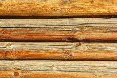 Textura de la pared de la cabaña de madera Fotografía de archivo