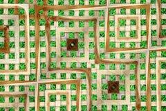 Textura de la pared del listón en campo de hierba artificial Fotografía de archivo libre de regalías