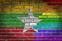 Textura de la pared de ladrillo - bandera de Myanmar con la bandera del arco iris Fotos de archivo libres de regalías