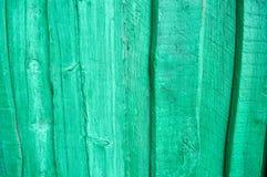 Textura de la pared de madera verde, de la cerca de los tableros brillantes verticales de diversos tamaños con las grietas y de n Fotos de archivo libres de regalías