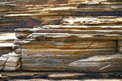 Textura de la piedra de la pizarra en los catedrales Ribadeo de los las de Playa fotografía de archivo