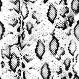 Textura de la piel de serpiente Negro inconsútil del modelo en el fondo blanco Vector Imágenes de archivo libres de regalías