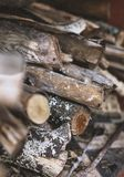 Textura de la pila de leña Fotos de archivo