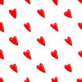 Textura de la tarjeta del día de San Valentín con los corazones rojos Imagen de archivo libre de regalías