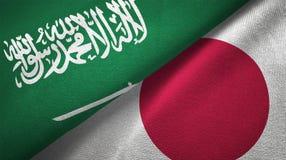 Textura de la tela del paño de la materia textil de las banderas de Japón y de la Arabia Saudita dos stock de ilustración