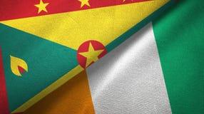 Textura de la tela de materia textil de las banderas de Costa de Marfil dos de Grenada y de Cote d ?Ivoire stock de ilustración