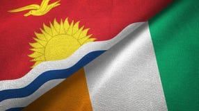 Textura de la tela de materia textil de las banderas de Costa de Marfil dos de Kiribati y de Cote d ?Ivoire libre illustration