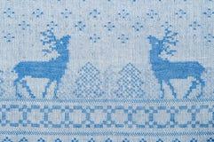 Textura de la tela de Navidad blanca y colores azules azules y blancos Imágenes de archivo libres de regalías
