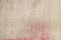 Textura de linho bege do saco Saco do presente do Natal Fotos de Stock Royalty Free