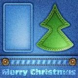 Textura de los pantalones vaqueros de la Navidad Foto de archivo