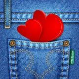 Textura de los pantalones vaqueros de la tarjeta del día de San Valentín Imagen de archivo libre de regalías