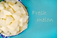 Textura de los pedazos del melón del cantalupo Imagen de archivo
