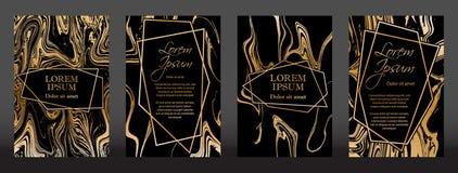 Textura de mármore do ouro e quadros geométricos ilustração stock