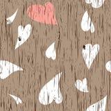 Textura de madeira com corações Ilustração Royalty Free