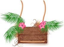 Textura de madeira com filial da palma Imagens de Stock Royalty Free