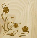 Textura de madeira com flor Fotos de Stock Royalty Free