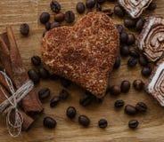 Textura de madeira da madeira da cookie do feijão de café do painel de Brown e da canela do loukoum Foto de Stock