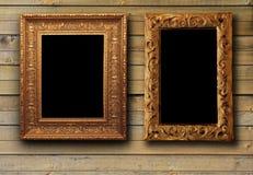 Textura de madeira de Brown com frames de retrato Imagens de Stock