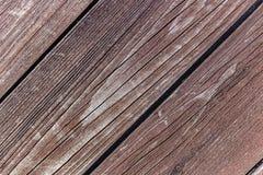 Textura de madeira diagonal do close up das pranchas do vintage Imagem de Stock