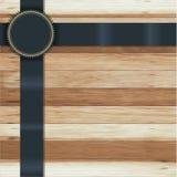 Textura de madeira do vetor com emblemas da bandeira da fita Imagens de Stock Royalty Free