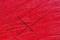 Textura de madeira pintada vermelho Fotos de Stock