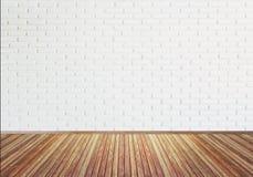 Textura de madeira velha do assoalho do vintage com a parede de tijolo branca para a parte traseira Imagem de Stock