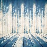 Textura de madera azul de los tableros ásperos de la cerca Fotos de archivo