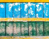 Textura de madera azul, verde y amarilla de la pared Foto de archivo