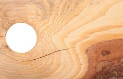 Textura de madera con la corteza y el agujero redondo Foto de archivo libre de regalías