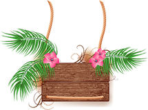 Textura de madera con la ramificación de la palma Imágenes de archivo libres de regalías