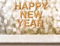 Textura de madera de la Feliz Año Nuevo en la tabla de mármol con el bokeh chispeante Imágenes de archivo libres de regalías
