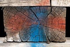 Textura de madera pintada del bloque - rojo y azul Fotos de archivo