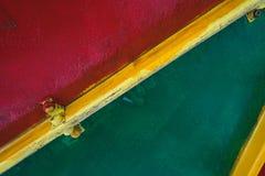 Textura de madera roja y verde Parte de una estructura masiva fotografía de archivo libre de regalías