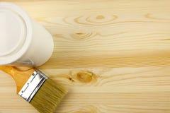 Textura de madera y estaño, brocha Fotografía de archivo libre de regalías