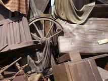 Textura de madera y de la lona de los apoyos de la etapa Imagen de archivo