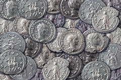 Textura de monedas antiguas fotos de archivo